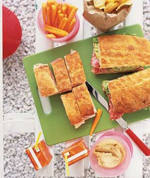 Sandwiches with juice boxes