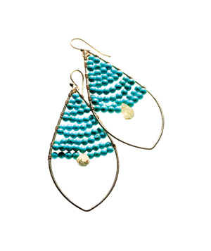Stella & Dot gold-plated turquoise earrings
