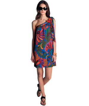 Trina Turk for Banana Republic Blue Coachella Printed One-Shoulder Dress