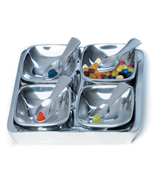 4 Bowl Condiment Set With Tray