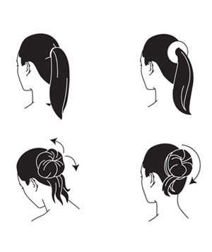 illustration of hair in an updo