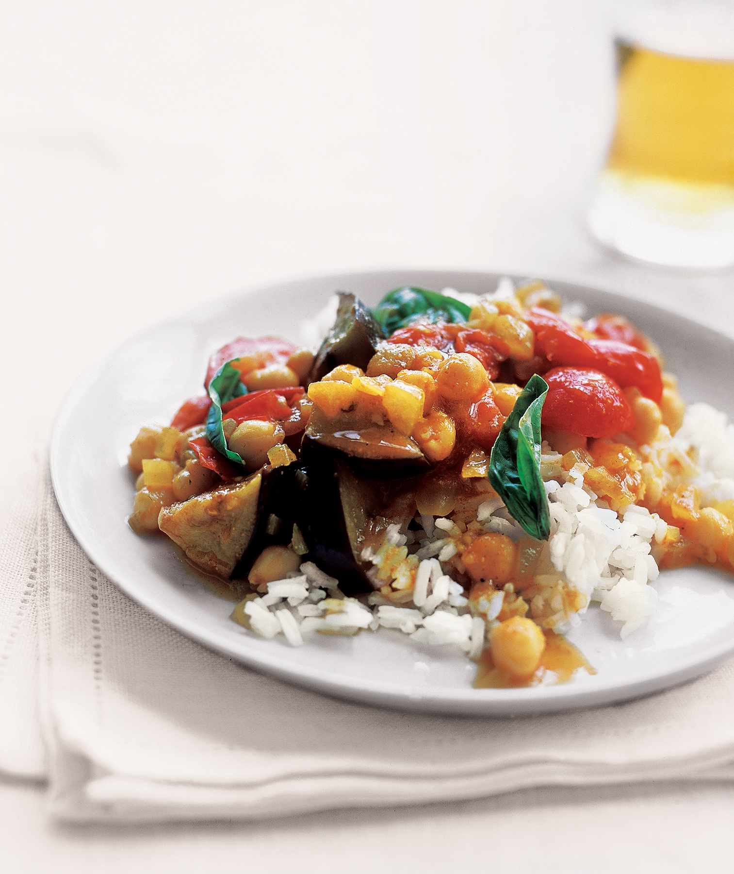 Curried Eggplant With Tomatoes and Basil Recipe | Real Simple