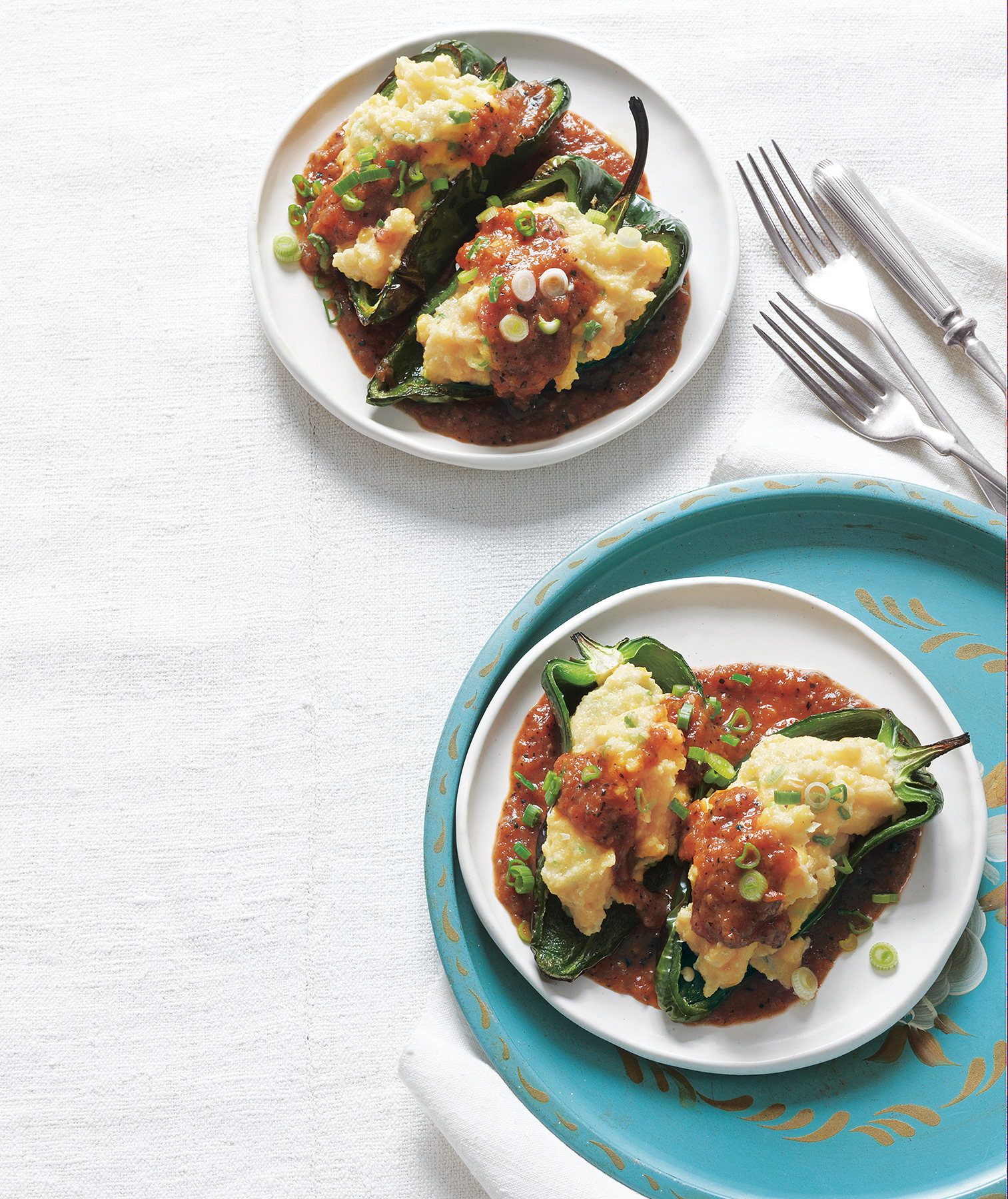 Polenta-Stuffed Poblano Peppers