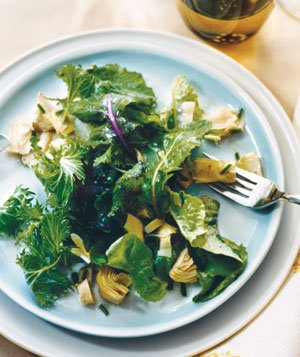 Greens With Quick Artichoke Vinaigrette