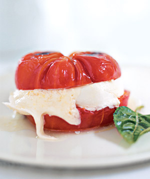 "Just right for summer: a ""burger"" made from tomato and mozzarella."