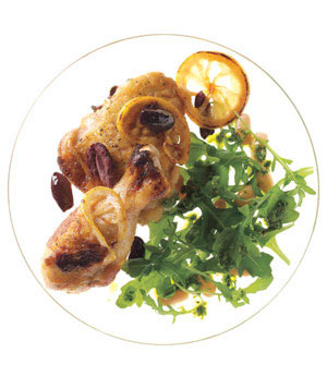 Lemon and Olive Chicken With Arugula and White Bean Salad