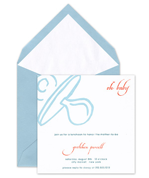 Crane & Co. Pacifier baby shower invitation