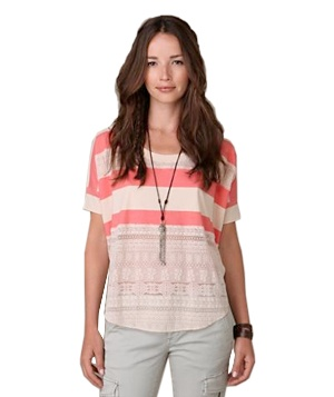 Lace & Stripe Short Sleeve Top