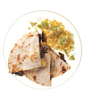 Grilled Portobello Quesadillas and Corn and Avocado Salad