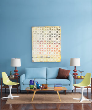 living room wall painting designs. Blue living room with a blue sofa Living Room Decorating Ideas  Real Simple