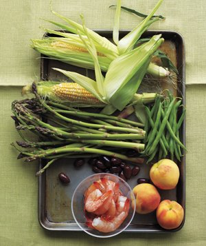 Corn and shrimp serving tray