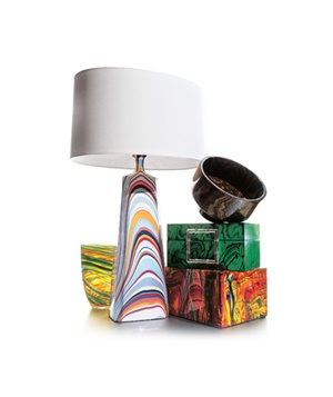 Marbleized lamp