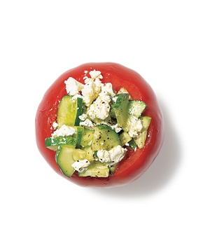 Stuffed tomatoes with cucumber and feta