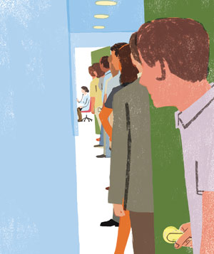Illustration of a man in a long line waiting for a doctor