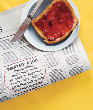 Want ads and toast with jelly on a plate