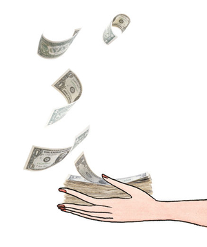 Illustration of a woman catching falling money
