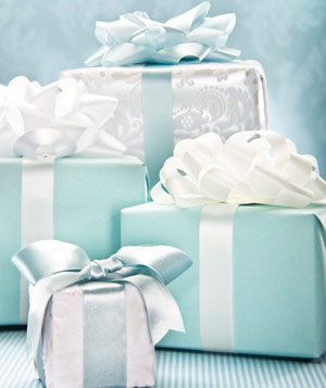 Group of blue and white wedding gifts