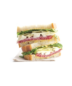 Salami sandwich with goat cheese