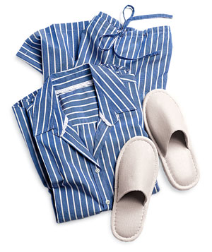 Blue and white striped pajamas and slippers