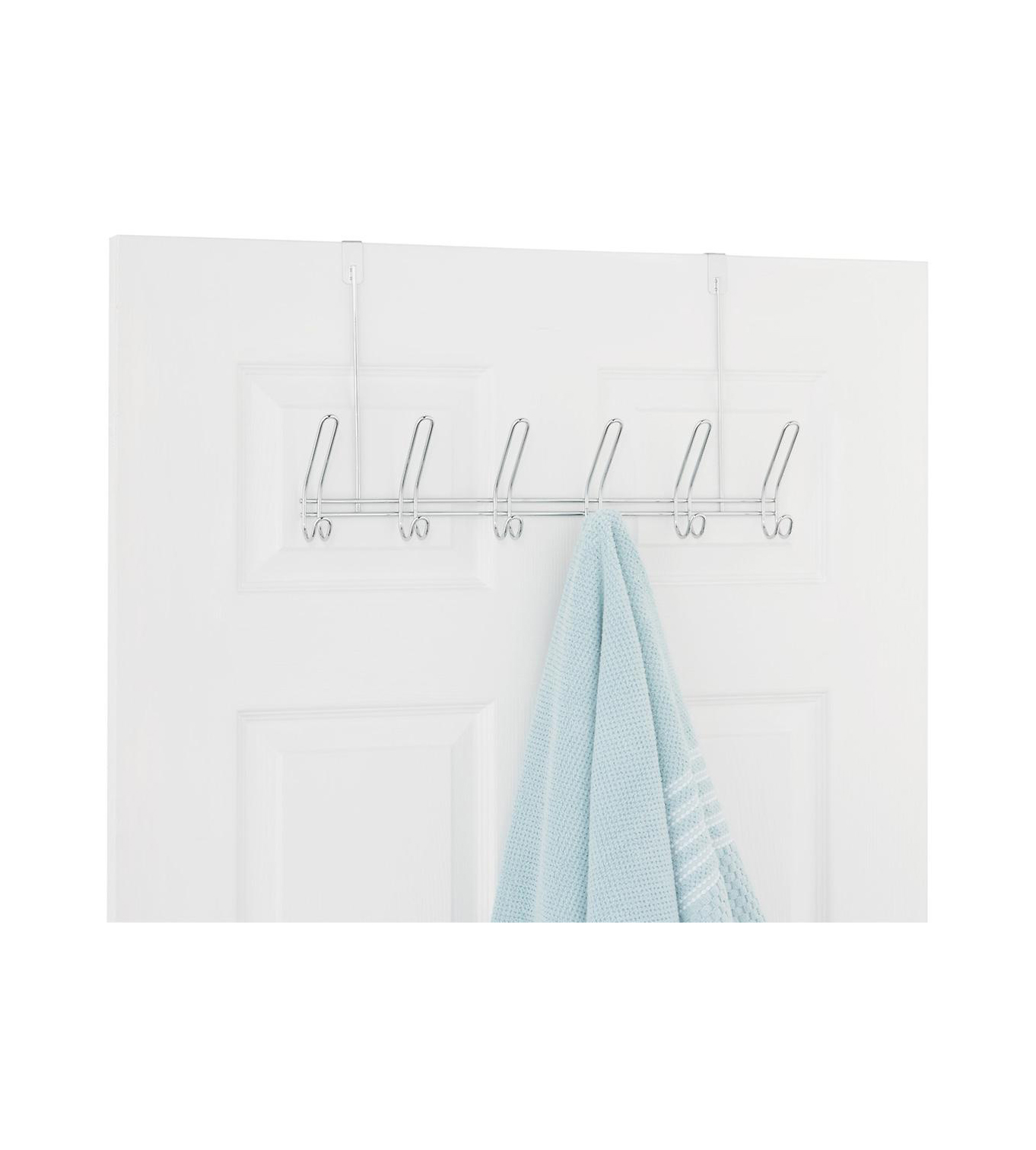 Chrome 6-Hook Over the Door Rack
