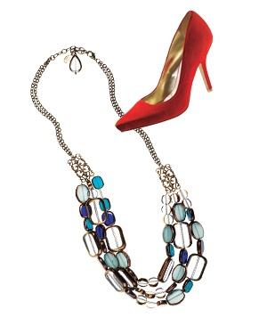 Blue necklace and red heel