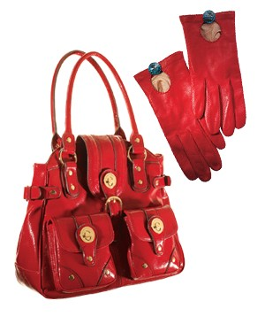 Purse and red gloves