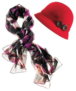 Scarf and red hat