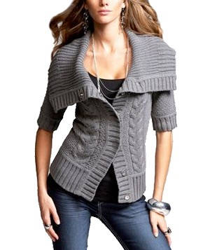 Funnel-Neck Button-Up Cardigan by Express