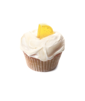 Cream cheese frosting on a lemon wedge cupcake