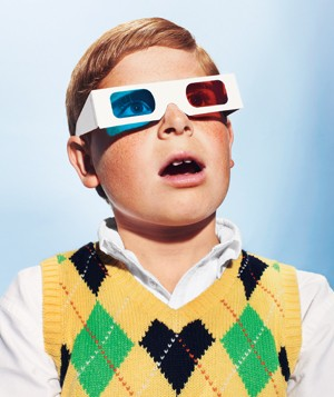 Kid with 3-D glasses