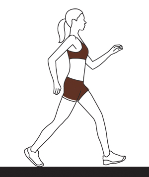 Illo woman speed walking
