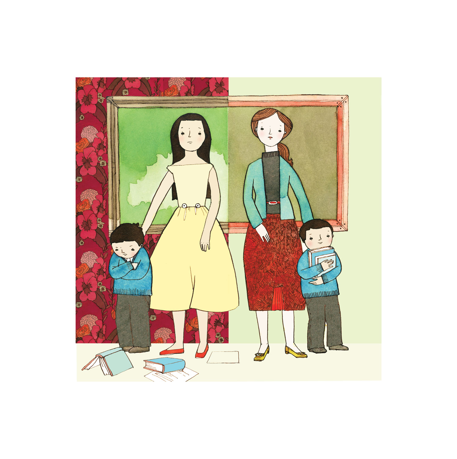 Illustration of a mother, a teacher, and children