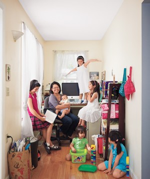 Family in home office