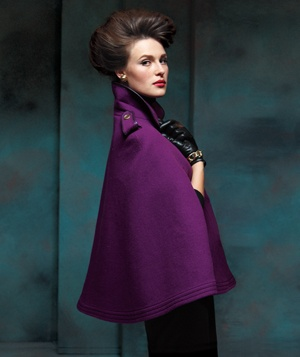 Model in a purple cape