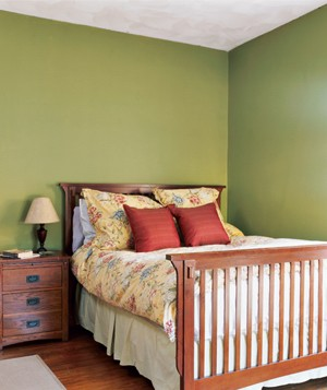 Bedroom with green walls