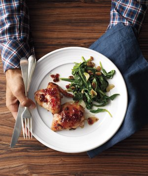 Red Currant–Glazed Chicken with Spinach