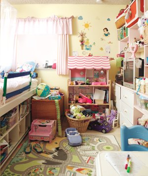 Kids room with wall storage