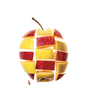 Apple cut into grid