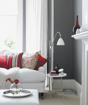 Gray and red room