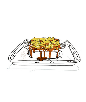 Illustration of a casserole dish on a rimmed baking sheet