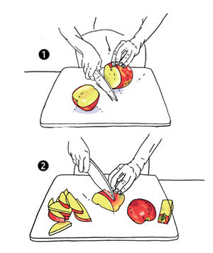 Illustration of hands slicing an apple