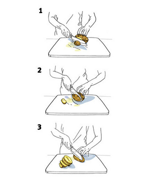 Illustration of how to cut a potato