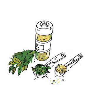 Illustration of substituting dried herbs for fresh