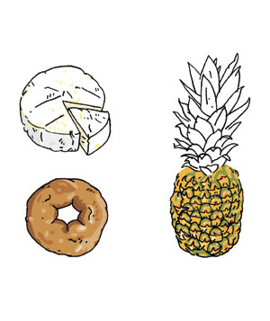 Illustration of cheese, doughnut, pineapple