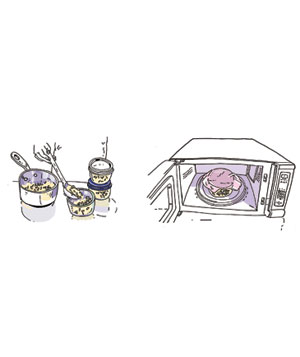 Freezing and reheating cooked rice illustration
