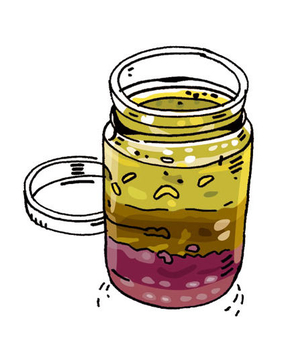 Illustration of a batch of homemade dressing