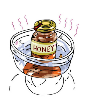 Illustration of honey in a bowl of hot water