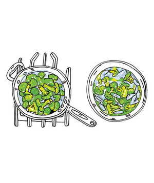 Illustration of how to blanch vegetables