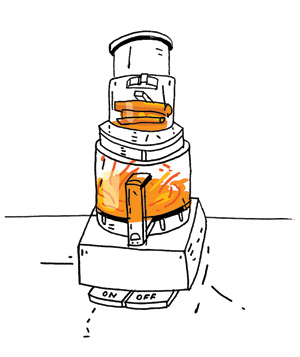 Illustration of orange food in a food processor