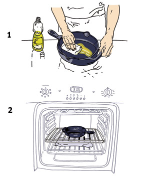 Illustration of how to season a cast-iron pan